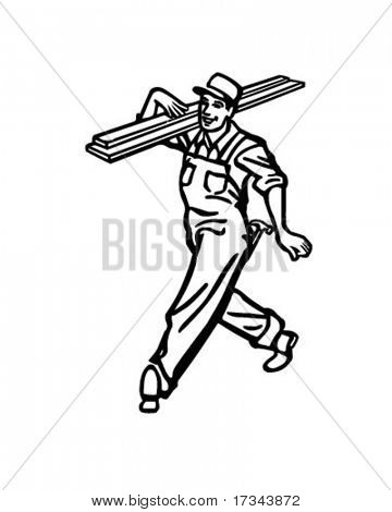 Happy Carpenter - Retro Clip Art