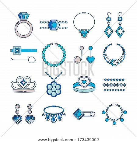 Set of vector jewelry line icons. Diamond luxury collection in blue color isolated on white. Ring necklace earrings chain diadem silhouette. Pearl silver crystal sapphire element. Treasure collection