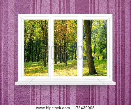 panoramic windows with view to oaken autumnale forest