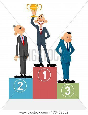Vector illustration of a three businessmen on pedestal