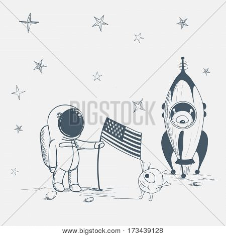 astronaut with aliens on the new planet.Cute humanoid welcomes a spaceman.Hand drawn vector illustration