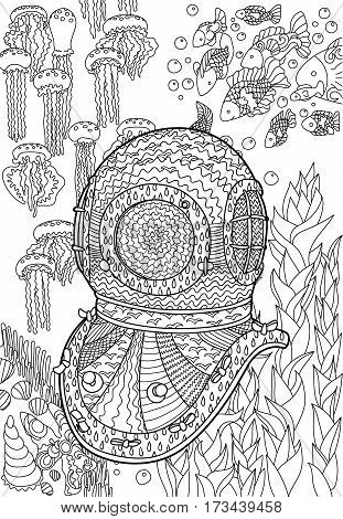Underwater antique divers helmet and sea bottom. Coloring pages for adult in zenart style. Antistress relax coloring page with marine element. Vector illustration