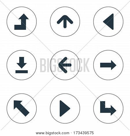 Set Of 9 Simple Cursor Icons. Can Be Found Such Elements As Pointer , Right Landmark, Let Down.