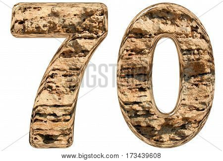 Numeral 70, Seventy, Isolated On White, Natural Limestone, 3D Illustration