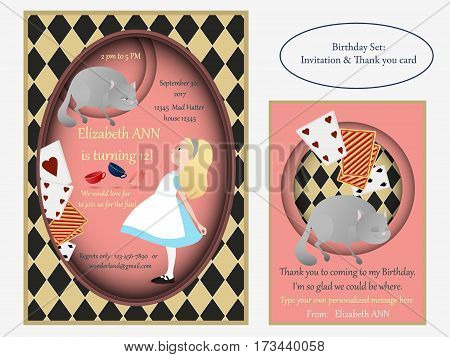 Cheshire cat. Birthday Invitation. Alice in Wonderland