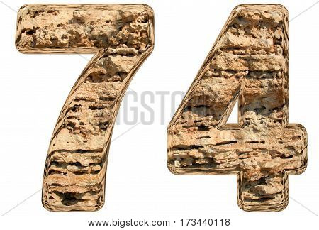 Numeral 74, Seventy Four, Isolated On White, Natural Limestone, 3D Illustration