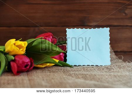 A bouquet of spring flowers on a wooden background. Concept of holiday birthday Easter March 8.