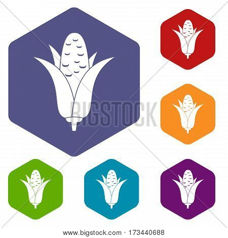 Corncob icons set rhombus in different colors isolated on white background