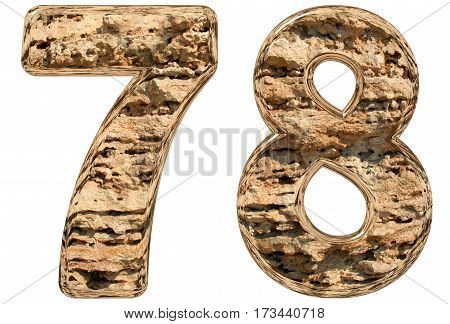 Numeral 78, Seventy Eight, Isolated On White, Natural Limestone, 3D Illustration