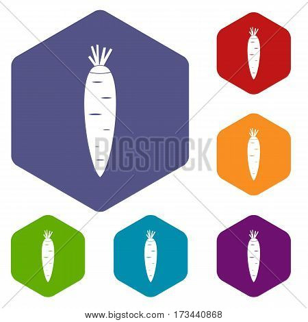 Carrot icons set rhombus in different colors isolated on white background