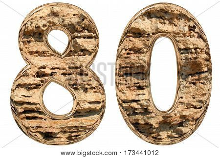 Numeral 80, Eighty, Isolated On White, Natural Limestone, 3D Illustration