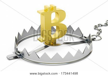 money trap with bitcoin sign 3D rendering isolated on white background
