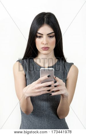 Businesswoman Text Messaging On Cellphone