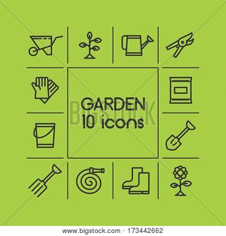 garden icons, garden tools, gardener, nature, fresh air