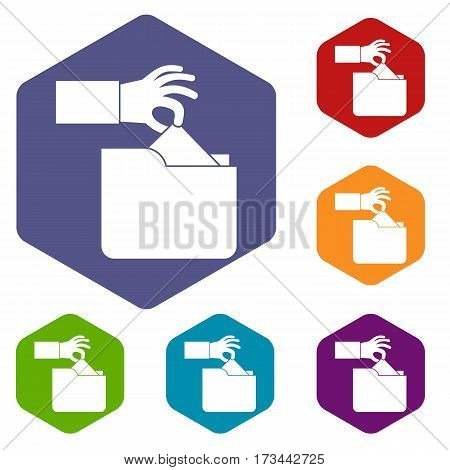 Robbery secret data in folder icons set rhombus in different colors isolated on white background