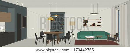 Living room interior in flat style. Vector banner of living room with lounge zone, dining table and kitchen.