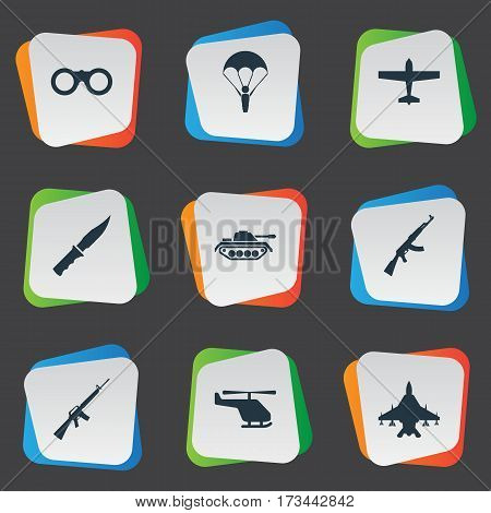 Set Of 9 Simple Military Icons. Can Be Found Such Elements As Rifle Gun, Heavy Weapon, Air Bomber And Other.