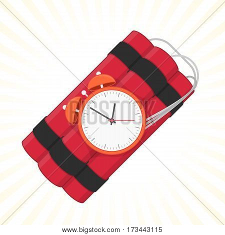 Red dynamite with timer. Dynamite bomb explosion with clock detonate and wire, vector icon in flat style. The symbol of the destruction and terror. Dangerous pyrotechnic equipment. Illustration EPS 10
