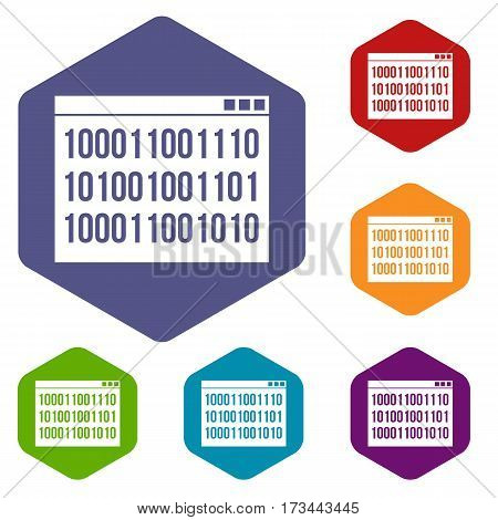 Binary code icons set rhombus in different colors isolated on white background