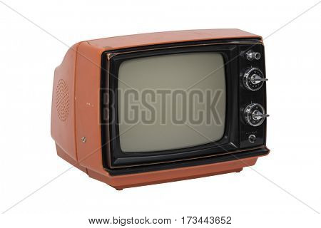 Retro television set isolated on white background