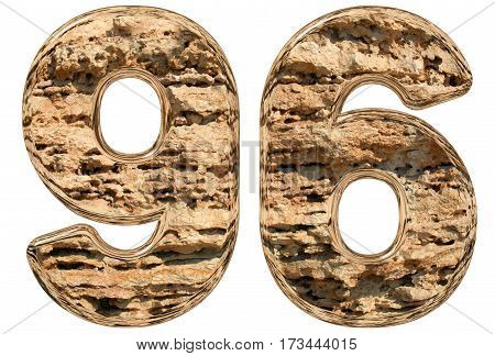 Numeral 96, Ninety Six, Isolated On White, Natural Limestone, 3D Illustration