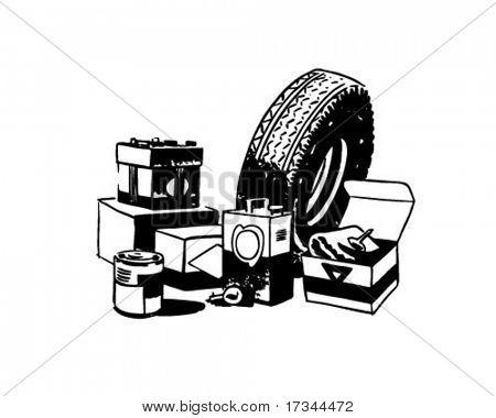 Car Accessories - Retro Clip Art