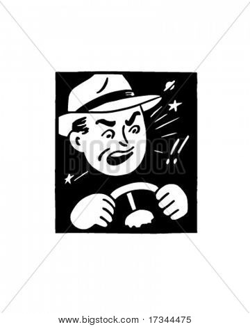 Angry Driver - Retro Clip Art