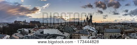 Panoramic view of Krakow a historic town in Poland