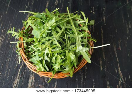 Rucola Plant In A Wicker Bowl
