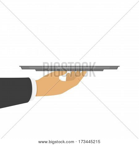 Hand holding an empty silver tray. Concept of food delivery, salver, customer service equipment or presentation. Vector illustration isolated on white background. EPS 10.