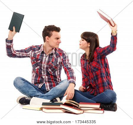 Teenagers Arguing While Studying