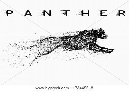 Attack motion of panther.Silhouette of animal.Vector illustration made by points