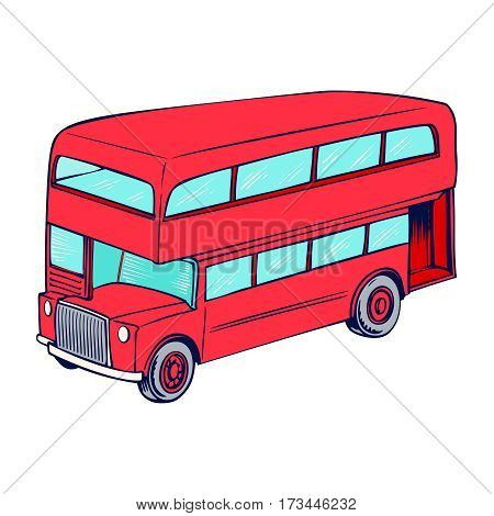 Double decker red bus, city public transport service vehicle retro-bus. Vector illustration, flat design, isolated on a white background.