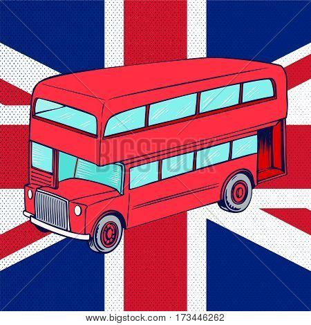 Double-decker red bus on background of UK flag