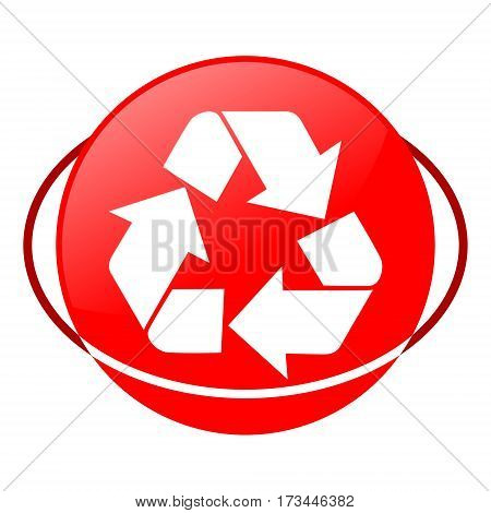 Red icon, recycling sign vector illustration on white background