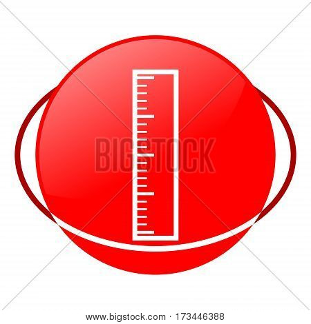 Red icon, ruler vector illustration on white background
