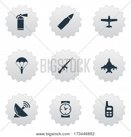 Set Of 9 Simple Army Icons. Can Be Found Such Elements As Rifle Gun, Watch, Sky Force And Other.
