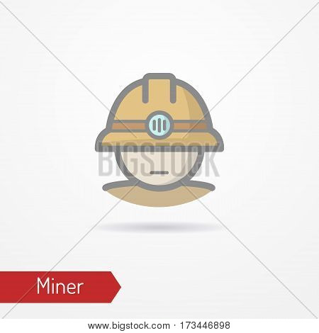 Typical simplistic miner face in professional helmet with light. Miner or digger head isolated icon in flat style with shadow. Profession vector stock image.