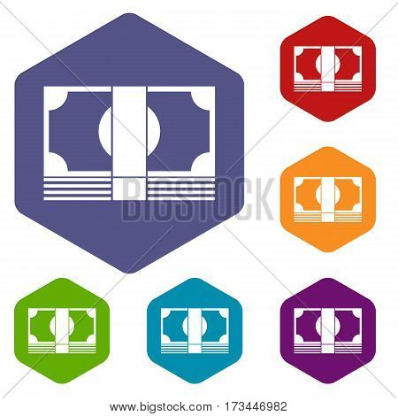 Swiss Franc banknote icons set rhombus in different colors isolated on white background