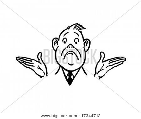 Nobody Knows - Man With No Answers - Retro Clip Art