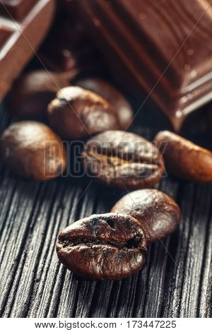 Close Up Of Chocolate And Coffee Beans, Shallow Dof