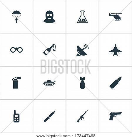 Set Of 16 Simple Terror Icons. Can Be Found Such Elements As Walkies, Nuke, Field Glasses And Other.