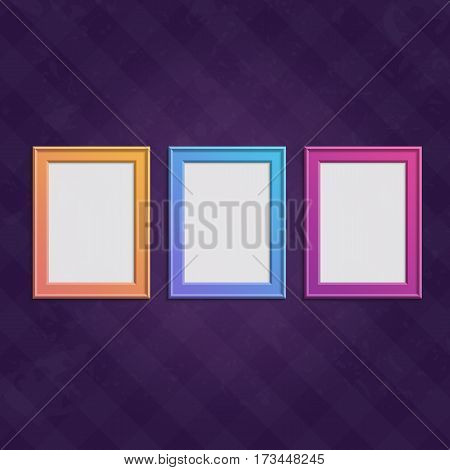 Vector color frame set. Art gallery Interior with empty colorful photo frames on vintage wall. Collection of colored, modern wooden framework. Illustration EPS 10.