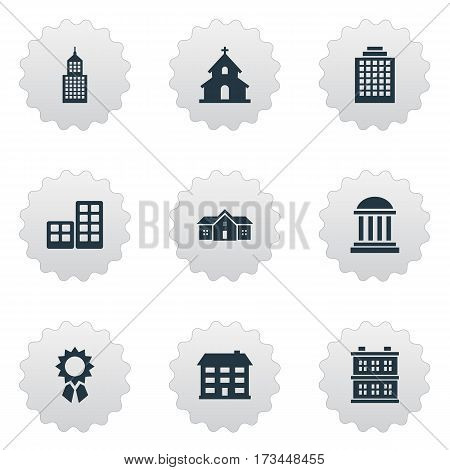 Set Of 9 Simple Architecture Icons. Can Be Found Such Elements As Residence, Block, Offices And Other.