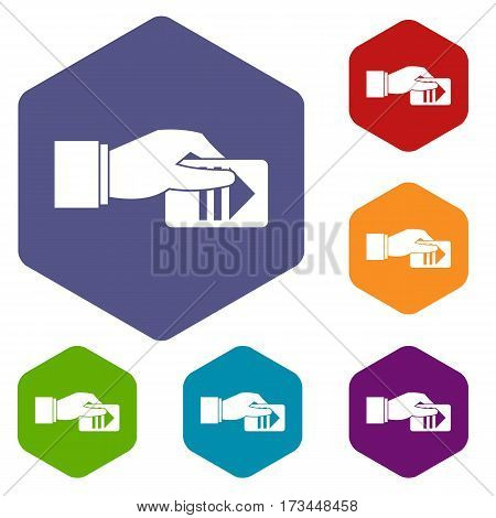 Hand with parking ticket icons set rhombus in different colors isolated on white background