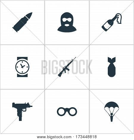 Set Of 9 Simple War Icons. Can Be Found Such Elements As Rifle Gun, Molotov, Firearm And Other.