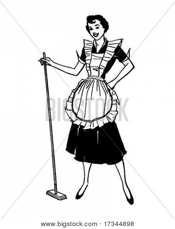 Housewife With Broom - Retro Clip Art