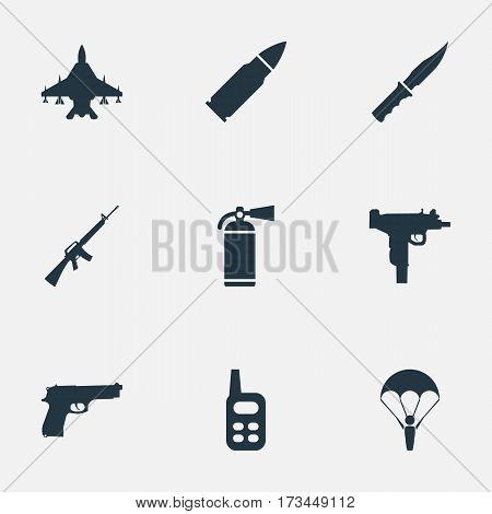 Set Of 9 Simple Army Icons. Can Be Found Such Elements As Sky Force, Extinguisher, Paratrooper And Other.