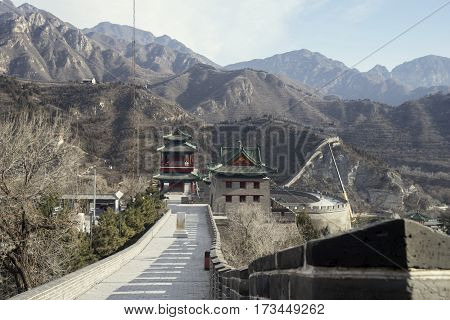 Picture of watchtower on the Great Wall of China with mountain view in Beijing