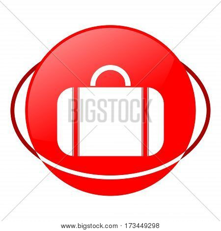 Red icon, valise vector illustration on white background